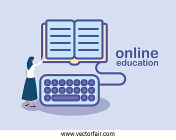 woman with education book with keyboard, online education