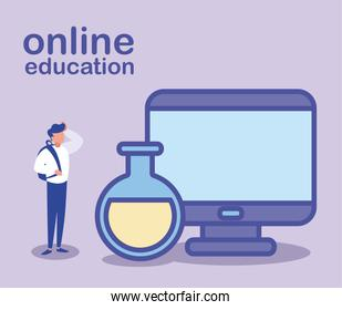 man with desktop computer, online education