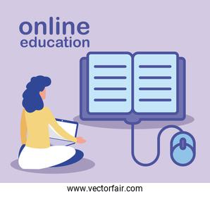 woman with laptop, online education, training or learning