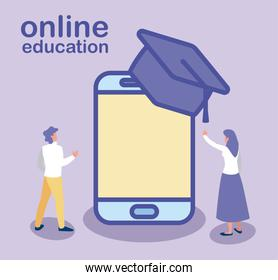 man and woman with smartphone and graduation hat, online education