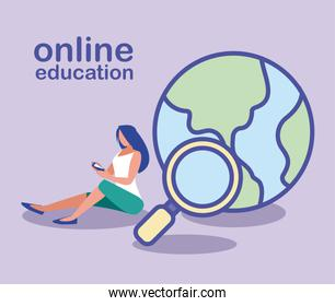 woman with smartphone and search icon, online education