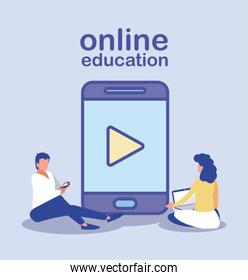 people with technology gadgets, online education concept