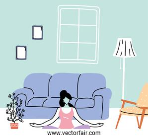 stay home, young woman doing yoga, isolation and social distancing