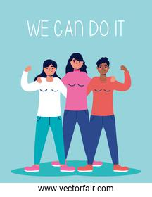 group of interracial women with we can do it message