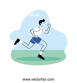 young man jogging in the park, outdoor workout