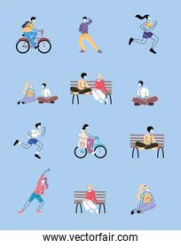 set of icons with people doing sports