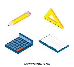 set of education supplies set icons
