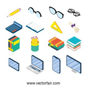set of education online supplies set icons