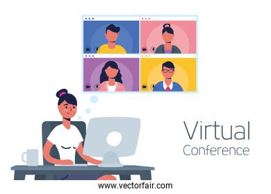 woman using desktop in virtual conference communication