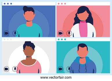 faceless people in virtual conference communication template