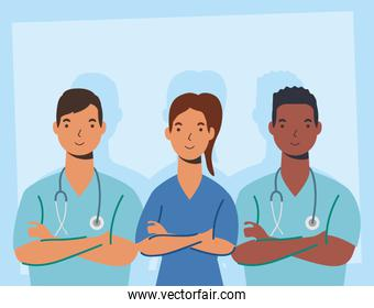 medical staff essential workers characters