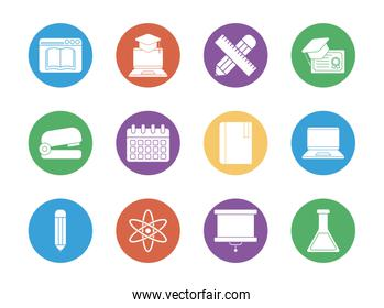 education school and university block style icon set vector design