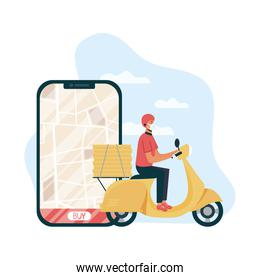 safe food delivery worker in motorcycle and smartphone