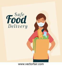 safe food delivery female worker with groceries bag