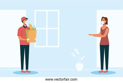 safe food delivery worker with groceries bag and female client
