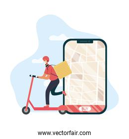 safe food delivery worker in skate and smartphone