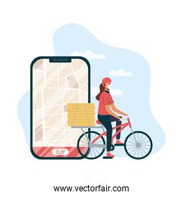 safe food delivery female worker in bicycle and smartphone