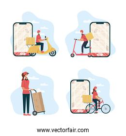 safe food delivery female worker with smartphones and vehicles