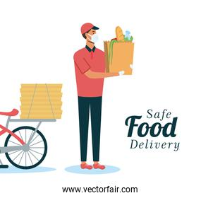 safe food delivery worker with groceries bag and bicycle