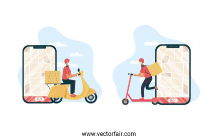 safe food delivery workers with smartphones in motorcycle and skate