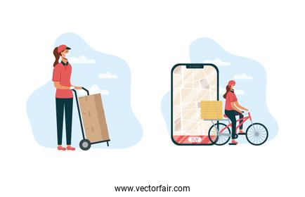 safe food delivery female workers with smartphone in bicycle