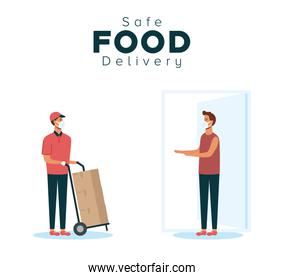safe food delivery worker with boxes carton and client