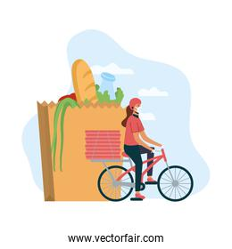 safe food delivery female worker with groceries bag in bicycle