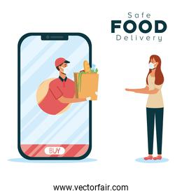 safe food delivery worker with groceries bag and client in smartphone