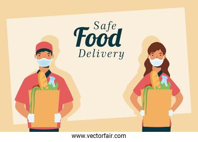 safe food delivery workers with groceries bags