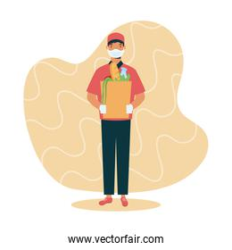 safe food delivery worker with groceries bag