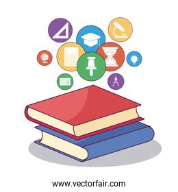 education books and icon set vector design