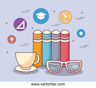 education books glasses coffee cup and icon set vector design