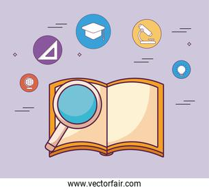 education book with light bulb and icon set vector design