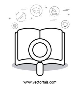 education book with light bulb and icon vector design