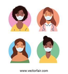 group of diversity women wearing medical masks characters