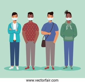 group of diversity people wearing medical masks characters