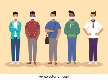 group of diversity men wearing medical masks characters