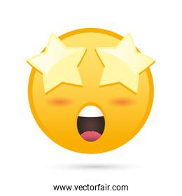 emoji face with stars eye funny character