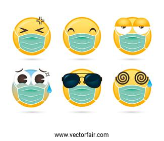 group of emojis faces using medical masks funny characters