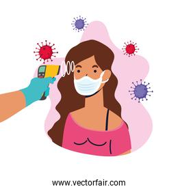 check temperature with laser thermometer to female patient