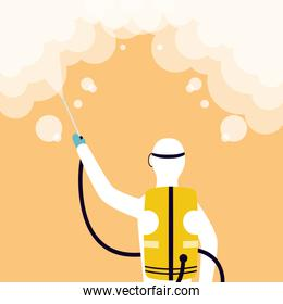 biosafety worker with sprayer disinfect