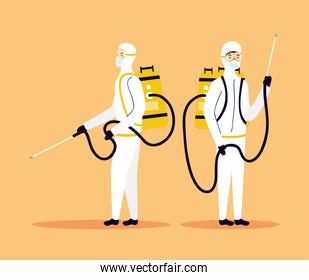biosafety workers with sprayers disinfect