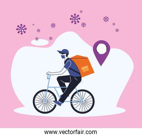 courier with merchandise delivery location