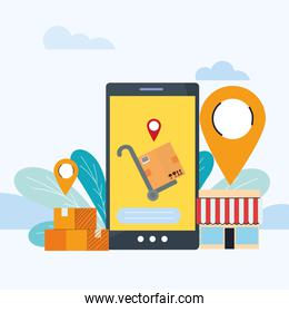 courier delivery with location on screen
