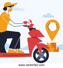 delivery, courier with merchandise location