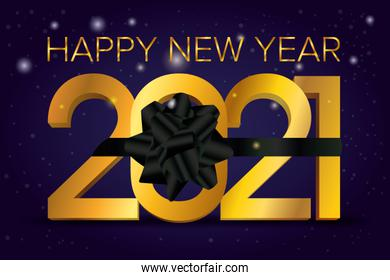 happy new year 2021 celebration poster with black bow