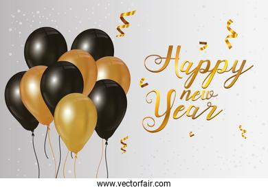 happy new year 2021 celebration poster with balloons helium