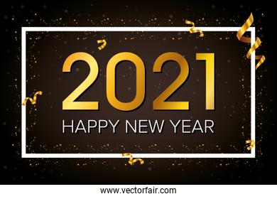 happy new year 2021 celebration poster with square frame