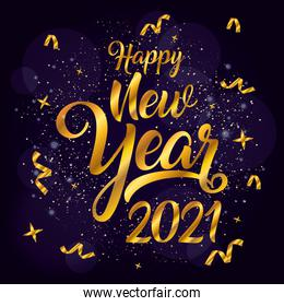 happy new year 2021 celebration golden poster