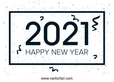 happy new year 2021 celebration poster with confetti